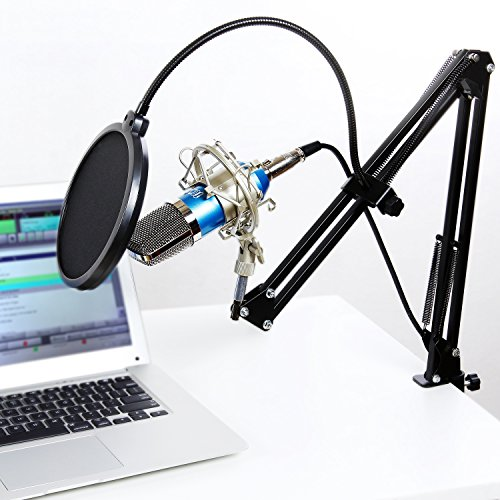 TONOR Professional Studio Condenser Microphone Computer PC Microphone Kit with 3.5mm XLR / Pop Filter / Scissor Arm Stand / Shock Mount for Professional Studio Recording Podcasting Broadcasting, Blue - Image 4