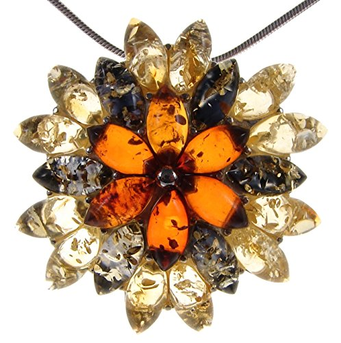 Baltic Amber Leaf Pendant - BALTIC AMBER AND STERLING SILVER 925 MULTI-COLOURED FLOWER LEAF PENDANT NECKLACE - 10 12 14 16 18 20 22 24 26 28 30 32 34 36 38 40
