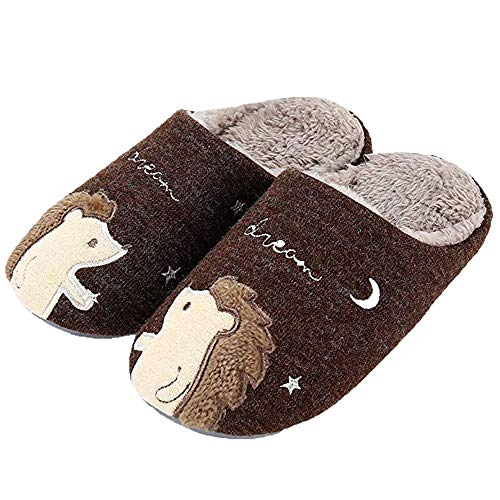 (Humiwa Women's Cute Animal Slippers Warm Memory Foam Cotton Home Slippers Soft Fleece Plush House Slippers Indoor Outdoor, Cappuccino, 8-9.5 M US Women / 7.5-9 M US Men )