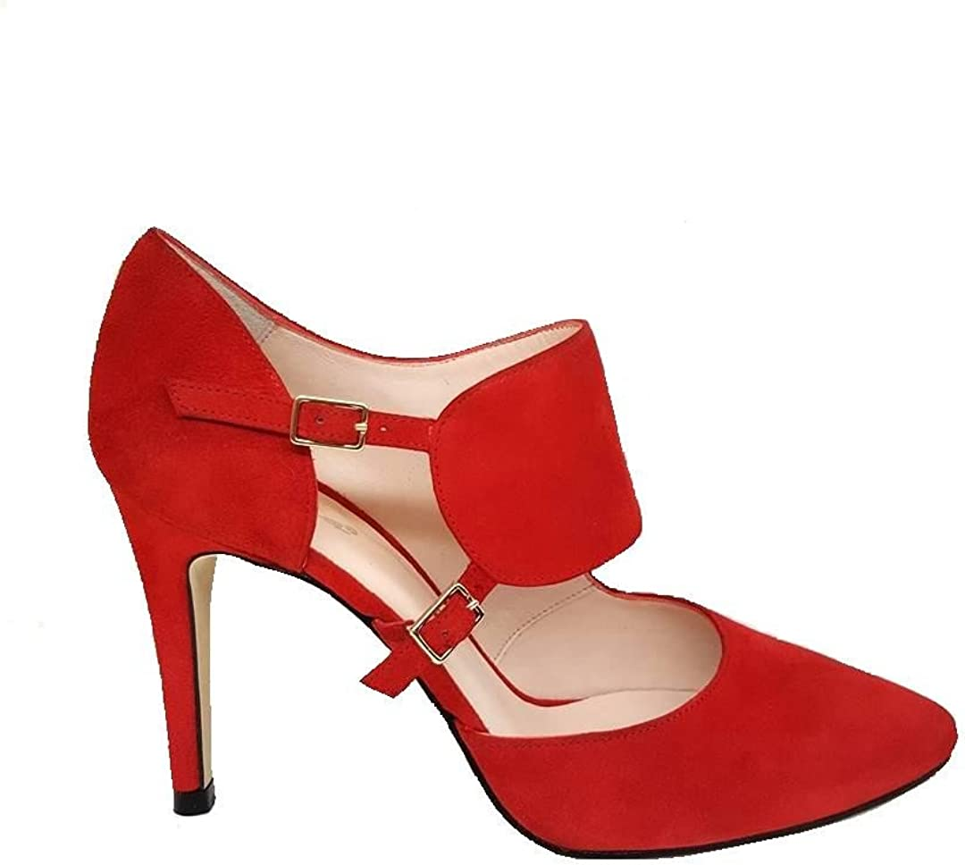 TALLA 42 EU. Gennia RESPIRO. - Zapatos de Tacon de Aguja 9 cm con Punta Fina Cerrada para Mujer y Cierre con Hebilla Metalica