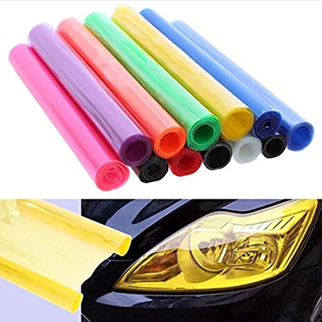 Luxury Car Headlight Fog Light Taillight Yellow Vinyl Film Wrap Sticker Colorful