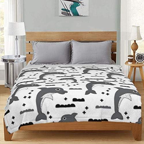 Couverture polaire imprimée numériquement mignonne dauphin pour enfants - Couverture polaire scandinave ultra douce et moelleuse - Pour canapé-lit et salon - 127 x 101,6 cm