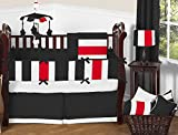Nursery Baby Patchwork Toddler Bed Bedding Set 100% Egyptian Cotton 500 TC 5-Piece Set Fitted Sheet, Skirt,Comforter,Flat Sheet,Pillowcase (Black/Red,Toddler Bed)