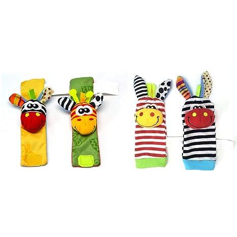 Aiming 2 Piezas Lindo del paño del bebé Calcetines traqueteo de la muñeca  Juguetes educativos f50edafa902