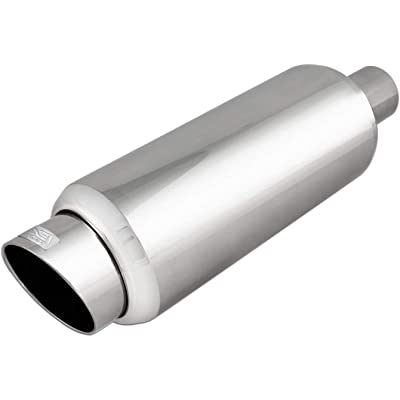 DC Sports EX-5016 Performance Bolt-On Resonated Exhaust Muffler with Clamps and Adapters for Universal Fitment on Most Cars, Sedans, and Trucks - Polished Stainless Steel: Automotive