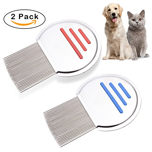 OWUDE Pet Head Hair Lice Comb - for Fast Nits and Lice Treatment - Stainless Steel Durable Design Painless Flea Remover - Perfect for Pet Dog Cat Small Animal Puppy - Anti Slip Grip - 2 PACK