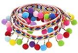 Ancefine Rainbow Pom Poms Tassel Trim Ball Fringe Sewing Fabric for Craft Decoration,5 Yard