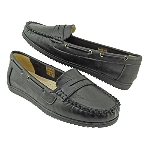 Pierre Dumas Lark-1 Donna Mocassino Moc-top Slip-on Mocassino Flats Nero