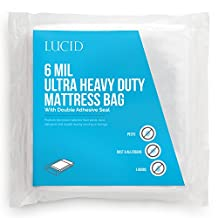 LUCID 6 Mil Ultra Heavy Duty Mattress Bag for Moving, Storage or Disposal - Seals Closed with Two Adhesive Strips - Queen