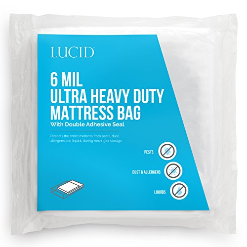 (LUCID 6 Mil Ultra Heavy Duty Mattress Bag for Moving, Storage or Disposal - Seals Closed with Two Adhesive Strips - Twin)