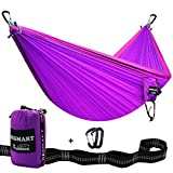 Image of SEGMART Double Hammock- XL Outdoor Camping Hammock with Tree Straps & Carabiners (purple)
