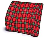 "Pivit Lumbar Back Support Cushion Plus Anchor Strap | Red Plaid, 14"" x 13"" 