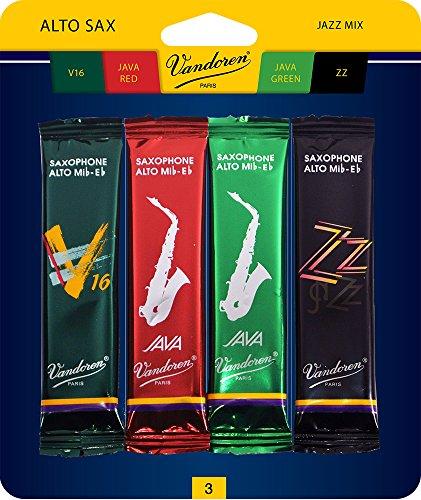 Vandoren SRMIXA3 Alto Sax Jazz Reed Mix Card includes 1 each ZZ, V16, JAVA and JAVA Red Strength 3 by Vandoren