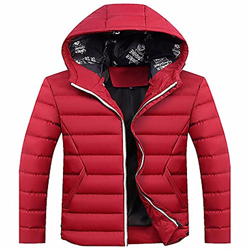 ZHUDJ Men's Regular Padded Coat,Simple Casual/Daily Solid-Polyester Polyester Long Sleeves Red