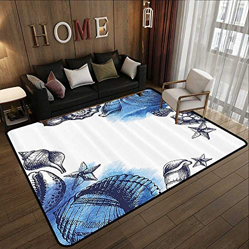 Kids Rugs,Ocean,Sealife Sea Shells and Sand Stones Deep Water Star Fish Blue Toned Design,Navy Blue and White 59