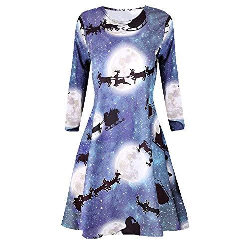 Long Sleeve Womens Organic Hemp - UONQD Women's Casual Retro Long Sleeve Vintage Christmas Printed Cocktail Dress(Large,Large)