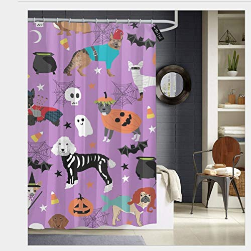 pendant necklace Dogs in Halloween Costumes - Dog Breeds Dressed Up Fabric - Purple_232 Prints Rustic Old Barn Wood Bathroom Shower Curtain Set with Hooks 72