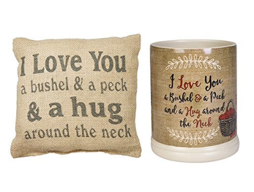 Love You a Bushel and Peck Electrical Jar Candle Warmer and Burlap Pillow Set of 2