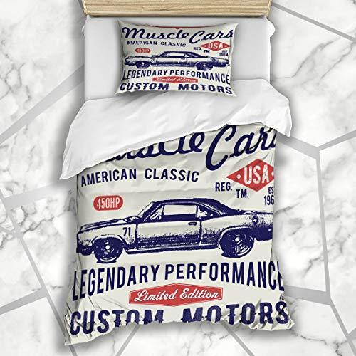 (Ahawoso Duvet Cover Sets Twin 68X86 Graphic Sport Retro Car Vintage Hotrod Muscle Stamp Race Design Art Microfiber Bedding with 1 Pillow)