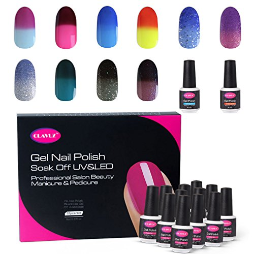 CLAVUZ Gel Nail Polish Set Soak Off Color Changing UV Gel Nail Manicure with Top and Base Coat Nail Art New Starter Kit -