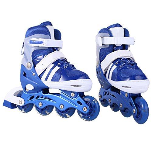 Leoneva Adjustable Inline Skates with Light Up Flashing Wheels for Kids/Boys/Girls, (US Stock) (Roller Master Sponge)