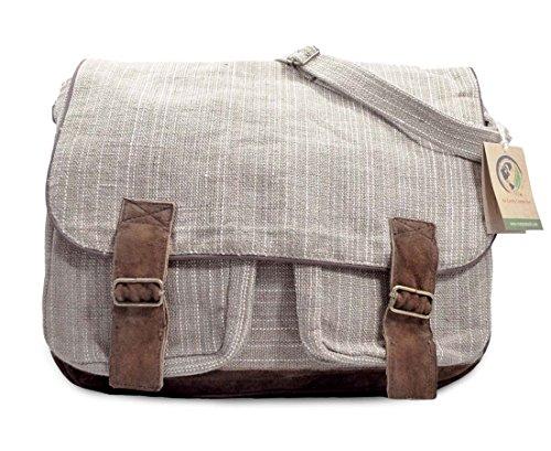 Mato Hemp Crossbody Laptop Messenger Bag Shoulder Satchel Suede Buckle Unisex (Suede Laptop Bag)