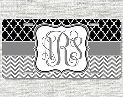 Monogram License Plate Black Tag White Letters New Monogram Car Tag