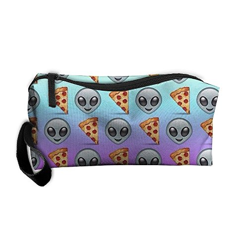 Alien And Pizza Emoji Pencil Bag Durable Pouch Zipper Big Capacity Trave Makeup Cosmetic Bag Organizer Bag