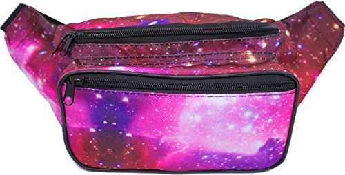 SoJourner Bags Fanny Pack - Galaxy, Outer Space, Rave Festival Style (Purple)