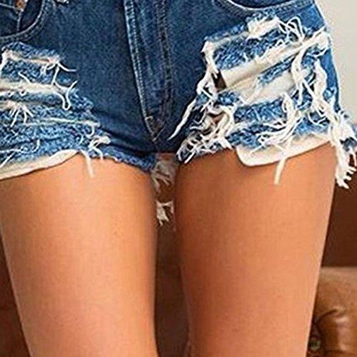Pantalones Vintage Alto Pierna Kairuun Borla Vaqueros Mujer De Slim Pantalones Azul De Anchos Talle Fit con Oscuro Y5xExwq