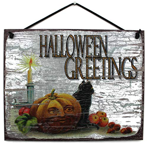 Egbert's Treasures 8x10 Halloween Sign Saying Hallowe'en Greetings with Jack-O-Lantern, Black Cat and Candle - Universal Household Sign]()