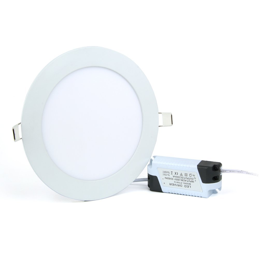 JerryLamp 12W LED Panel Light Flat Lamp Round Ultra-Thin Recessed Ceiling Light Downlight Fixture Kit Warm White 3000K 80W Incandescent Equivalent with LED Driver by