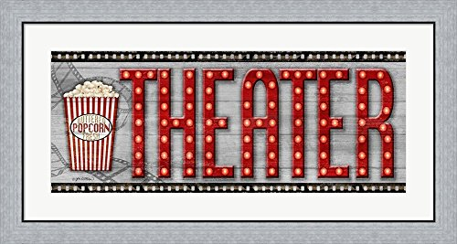 Movie Marquee Panel II (Theater) by Jen Killeen Framed Art Print Wall Picture, Flat Silver Frame, 38 x 20 - Killeen Glass