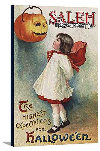 Salem, Massachusetts - Halloween Greeting - Girl in Red and White - Vintage Artwork (24x36 Gallery Wrapped Stretched Canvas)]()
