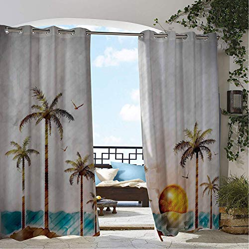 Waterproof Curtains Hawaiian Watercolor Style Tropical Island Coconut Trees and Birds Sun Art Print Green Brown doorways Grommet Patterned Curtain 84 by 84 inch ()