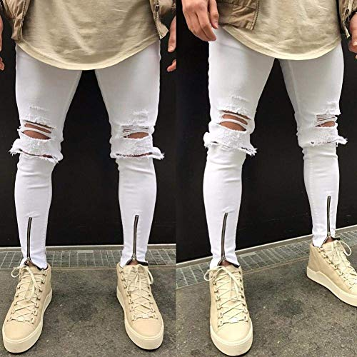 Chern Pantaloni Jeans Con Skinny Stretch Destroyed Da Jogging Vintage Bianca Abbigliamento Nero Fori Pants Fit Uomo Slim Hiphop B8wxAqS8gO