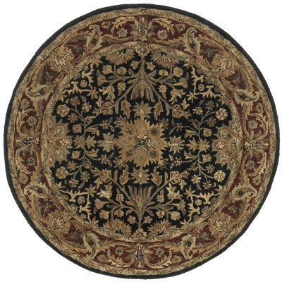 Traditions Regal Round Rug, 6-Feet by 6-Feet, (Gold Medallion Kashan Rug)