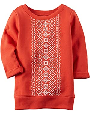 Girls Red Printed French Terry Long Sleeve Tunic - Toddler
