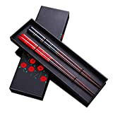 Top Grade Japanese Natural Wood Chopsticks, Reusable Classic Style, 2 Pairs with Case, Value Gift Set