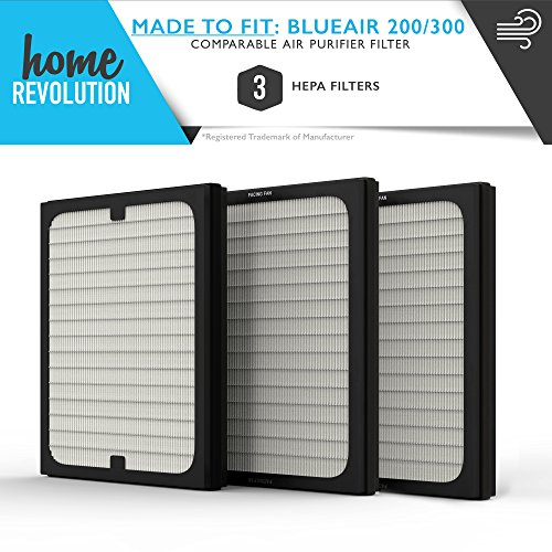 Blueair 200/300 Series Part # 201, 210B, 203, 250E, 200PF and 201PF for Blueair 200 and 300 Series Models, Comparable Air Purifier Filter A Home Revolution Brand Quality Aftermarket Replacement 3PK