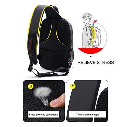 libre de de Claro los bag moda estilo hombres al TOOGOO Messenger aire hombro los de Negro Gris antirrobo mochila hombro deportes deportes nuevo de de bolsa A7xpf