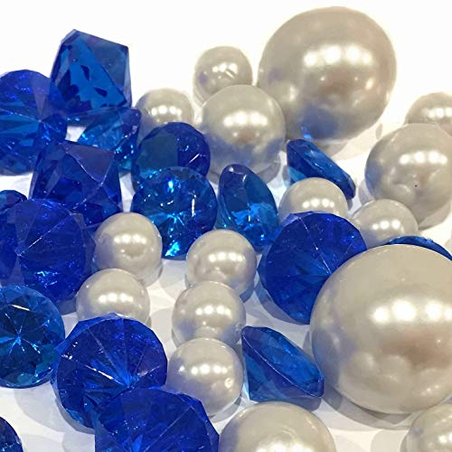 Blue Jumbo Gems - 80 Royal Blue Gems and White Pearls - Jumbo and Assorted Sizes Vase Fillers for Decorating Centerpieces - to Float The Pearls - Order with Transparent Water Gels