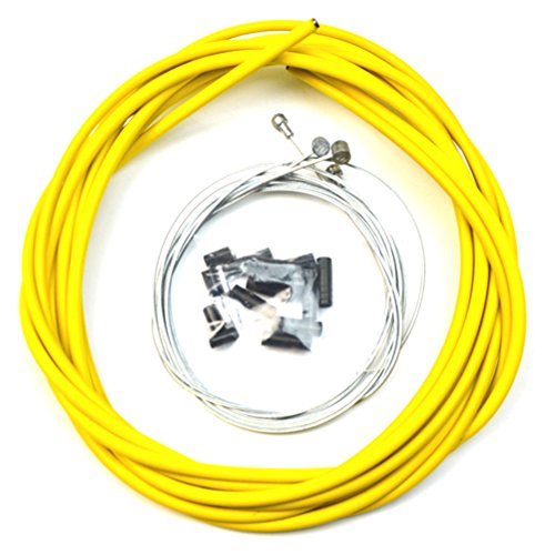 WINOMO Yellow Bicycle Brake Cable and Housing Set Bike Shift Line Cable for Road MTB