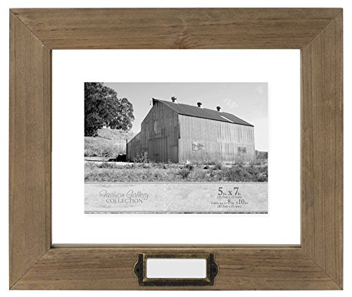 Malden International Designs Rustic Cedar Wood Floater Mat Picture Frame with Antique Brass Hardware, 5x7/8x10, Brown Cedar Frame