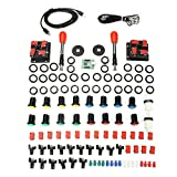 Fincos Arcade Parts Bundles Kit with Spainish Red Joystick Push Button Micro Switch 2 Player USB Board