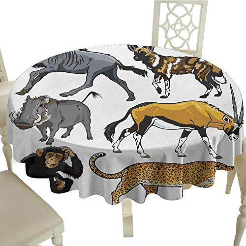 Round Tablecloth Black Zoo,Collection of Cartoon Style Wild Animals of Africa Fauna Habitat Savannah Wilderness,Multicolor D70,for Bistro Table (Savannah Bistro)