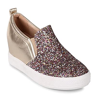 05b30e89682d Wanted  quot Illuming Glitter Embelished Wedge Sneaker - (Multi
