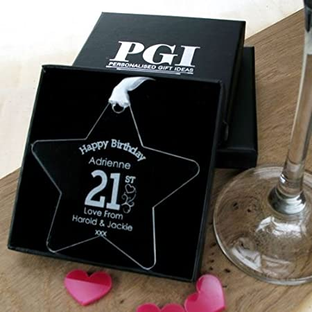 Personalised 21st Birthday Gift Engraved For Her Star