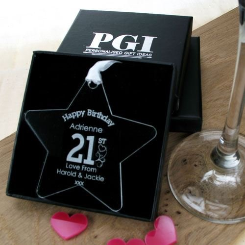 Personalised 21st Birthday Gift Engraved For Her Star Decorations Amazoncouk Kitchen Home