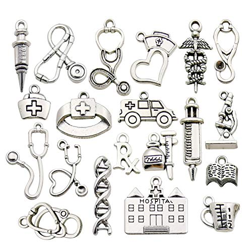 Charm Craft - iloveDIYbeads 60pcs Craft Supplies Antique Silver Medical Nurse Charms DNA Stethoscope Syringe Nurse Cap Hat Charms for Jewelry Making Crafting Findings Accessory for DIY Necklace Bracelet M319